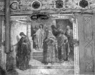 Роспись западной стены. «Лепта вдовицы» (фото 1975 г.)